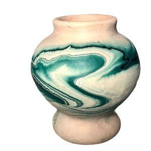 Vintage Nemadji Pottery Hand Painted Green Glaze